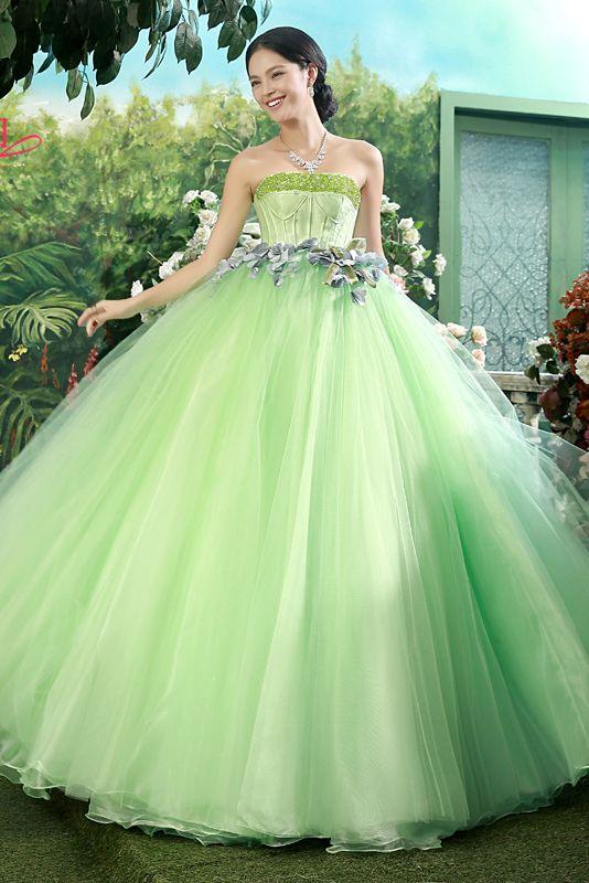 Bustier à lacets vert sans manches perles étage longueur robe de bal fleur robe de couleur Cfz0037 populaire