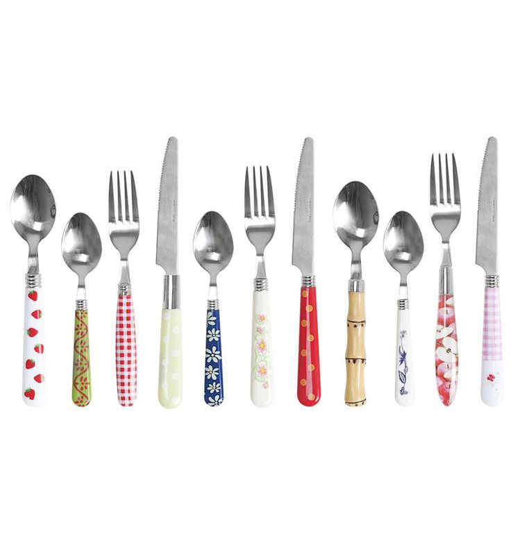 Retro inspired cutlery setQuirky 16 piece assorted cutlery set consisting of 4 knives, 4 forks, 4 spoons and 4 dessert spoons Brighten up any dining table or picnic blanket with this fruity and dotty set Perfect for a light hearted brunch or a retro party with friends Dishwasher safe but it's not advised to soak them overnightStainless steel with acrylic handles.