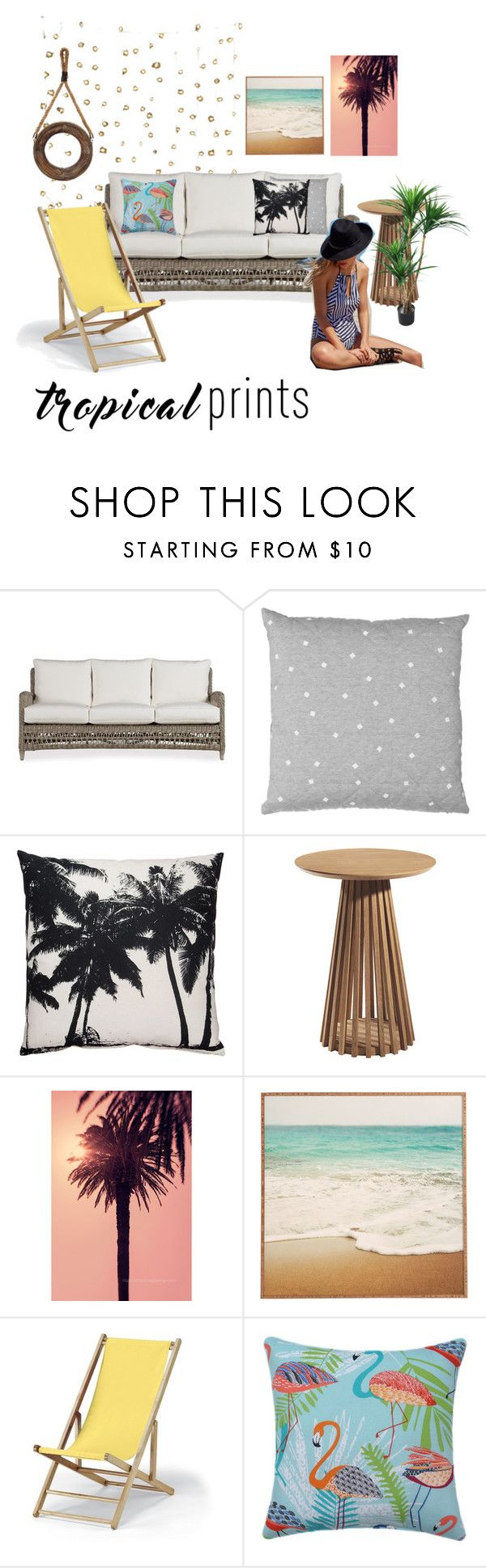 """Tropical Prints"" by dindydind ❤ liked on Polyvore featuring interior, interiors, interior design, home, home decor, interior decorating, Telescope Casual, TradeMark and tropicalprints"