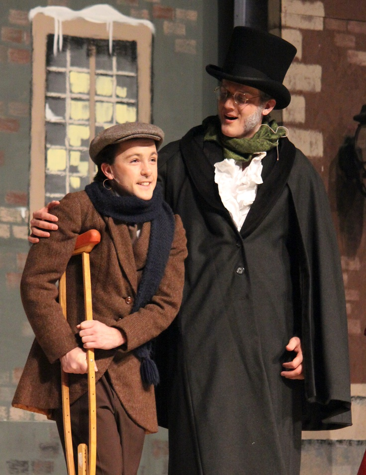 Michael King as Tiny Tim and Joseph Wilson as Ebenezer Scrooge — with Michael King at Briercrest College and Seminary.