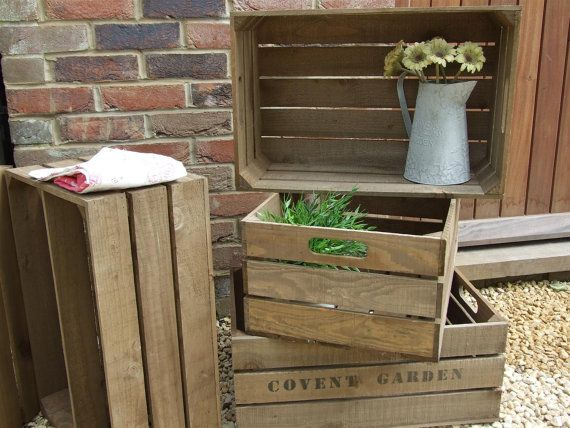 VINTAGE STYLE WOODEN APPLE CRATE storage box Fruit CRATES Bushel box Shabby Chic  Large apple crate vintage style storage box in rustic antique