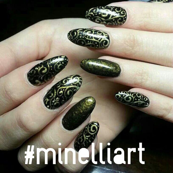 #celebrity #celebritynails #nailart  #minelliart #biosculpturegel #handpainted #nailtrends #nailit #gettingyournailon #nailsalon #capetown #brackenfell #nailfashion #nailgoodness #nailporn #naillovers #nailartofinstagram #nailartappreciation #nailaddict  #nailfetish #ombrenailart #nailartgallery #triblenailart #gems #blackandgoldnails #almondnailshape Fb page: minelliart