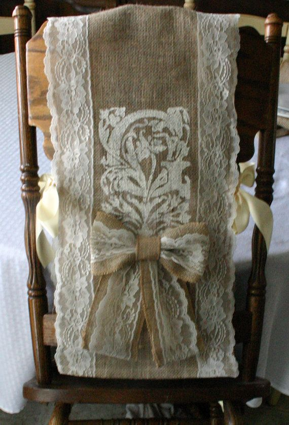 Monogrammed Burlap And Lace Chair Bows Bride Groom Covers