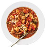 Cooking Light Smoky Shrimp and Chicken Gumbo Recipe makeover.  Fat reduced from 14.8 to 1.4 per serving.