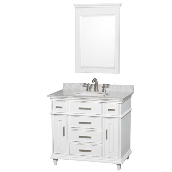 Wyndham Collection Berkeley Single Vanity White 36 Inch With White Carrera  Marble Top With White Undermount Oval Sink And No Mirror
