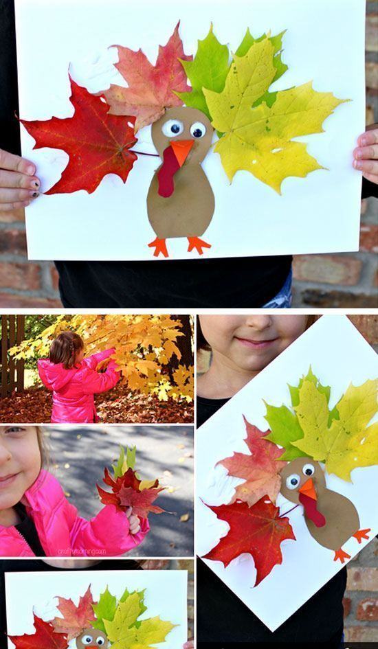 Leaf Turkey Picture Craft | Click for 30 DIY Thanksgiving Crafts for Kids to Make | Easy Thanksgiving Crafts for Toddlers to Make