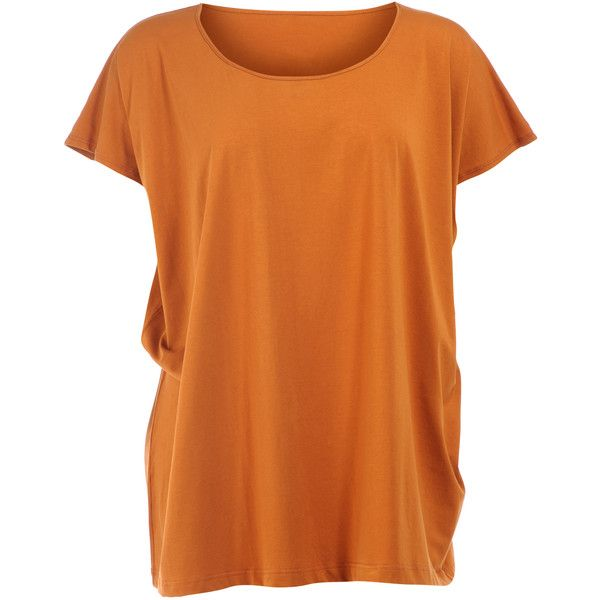 Isolde Roth Orange / none Plus Size Cotton batwing shirt ($130) ❤ liked on Polyvore featuring tops, orange, plus size, cotton shirts, plus size batwing tops, plus size cotton tops, womens plus tops and short sleeve cotton shirts