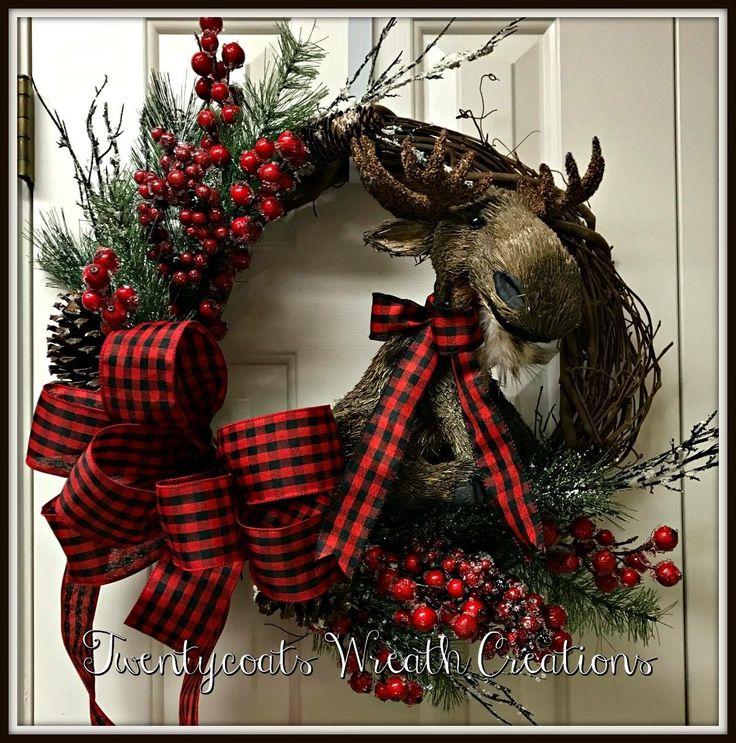Buffalo check Christmas moose by Twentycoats Wreath Creations (2016)