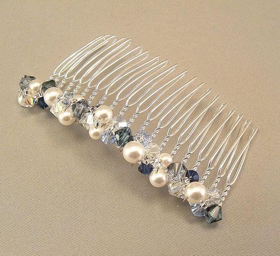 Nupcial partido peine del pelo, accesorios Wedding del pelo, mezcla azul marino y blanco perla Mix, algo azul, Marina de guerra de bodas, 3 pulgadas de ancho