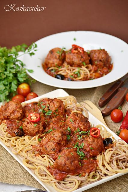 Koskacukor: Olaszos, paradicsomos húsgombócok spagettivel