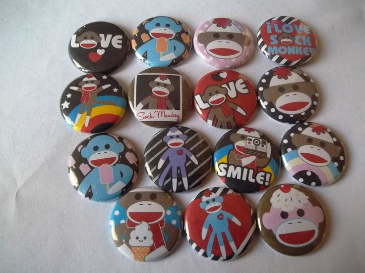 Sock Monkey flat back Buttons by Funcreations5 on Etsy, $7.25