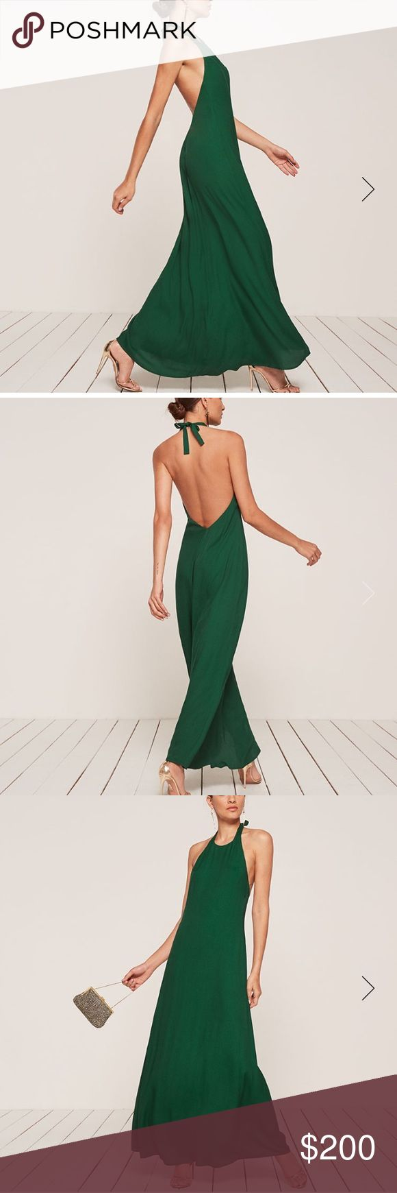 "Bought online in 2 sizes and didn't return in time Ana dress from Reformation. This is a super sexy and elegant maxi halter dress w a high neckline and low back. Never worn, all tags still attached. I ordered 2 sizes online and didn't return the other in time for them to refund me...so am now trying to get rid of it! Absolutely stunning on- I'm on the taller side at 5'10"" and it's perfect on me. I'm sure it can be hemmed, too! Reformation Dresses Maxi"