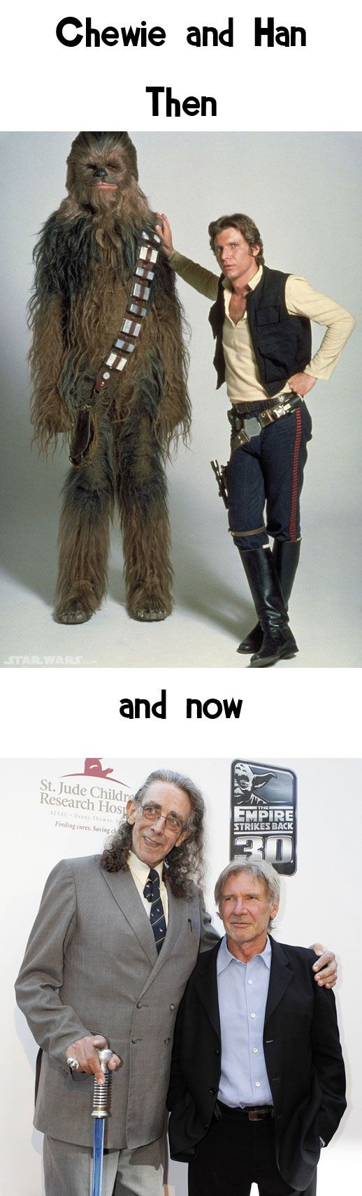 Chewbacca & Han Solo. In the bottom pic, Peter Mayhew's walking cane is a lightsaber! Win.