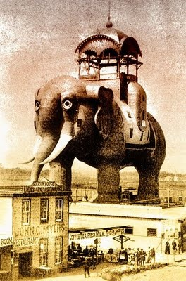 Between 1885 and 1896 the Elephant Hotel stood at Coney Island. The hotel was 122 feet high with seven floors and 31 rooms. It became associated with prostitution and in 1896 it burnt down in one of the Island's many fires. It was recreated for the 2001 film Moulin Rouge. http://en.wikipedia.org/wiki/Coney_Island_Elephant