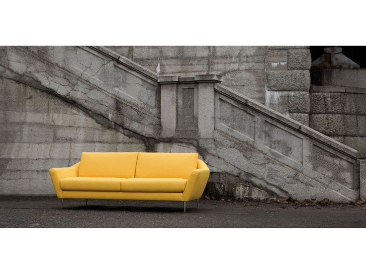 Sofa Agda żółta MOON 3 yellow nogi alu — Sofy Sits — sfmeble.pl