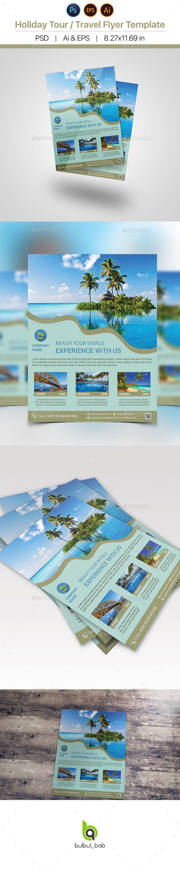 Holiday Travel Tour Flyer Template The