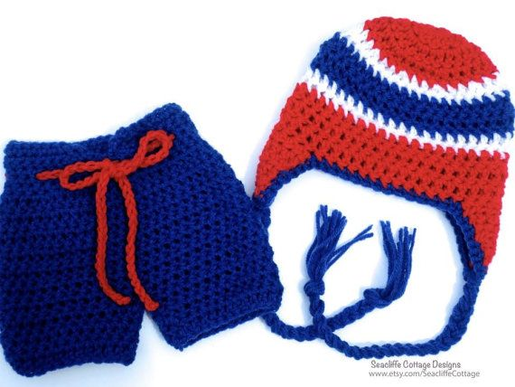 Hockey Set Baby Red Blue Team Hat Hockey Pants by SeacliffeCottage, $40.00