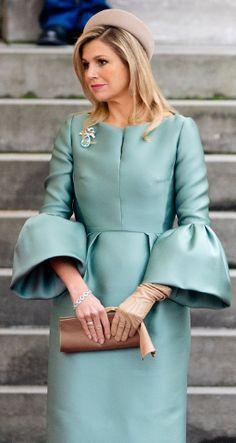 A stunning aquamarine brooch worn by Queen Maxima.