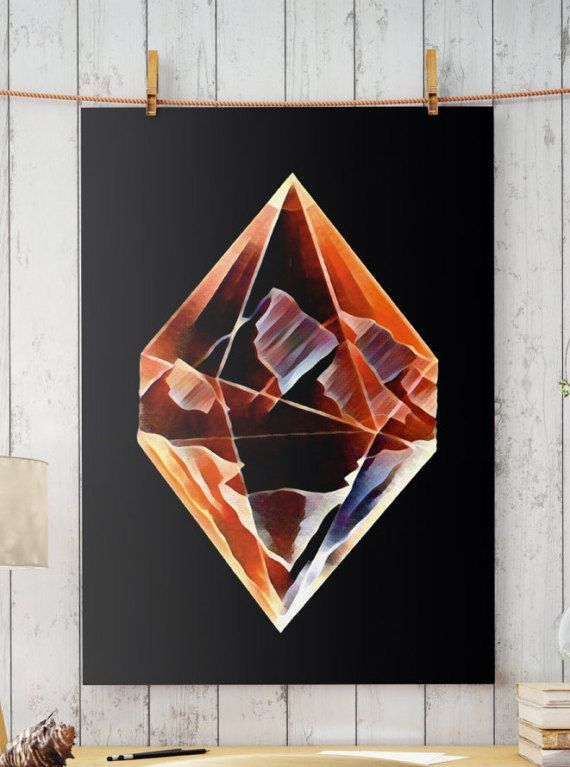 Hand drawn and digital art. DIAMOND MOUNTAINS  Perfect for your living walls Great gift idea for your friends.  Big resolution of the picture, can be printed on larger formats.   ZuskaArt : artwork | watercolor painting | art prints | canvas art | framed art | canvas painting | watercolou...