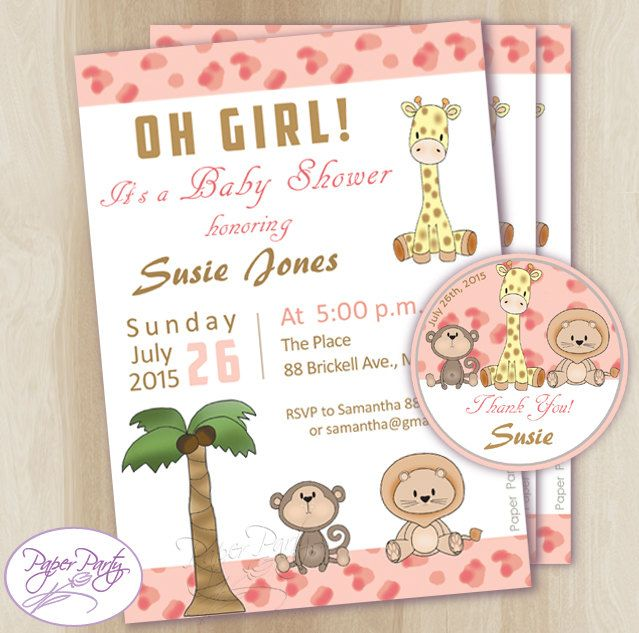 Pink Safari Baby Shower Invitation | Forest Friends Baby Shower Invitation | Baby Shower Jungle Invites - Free Thank You Card Customized by PaperPartyDesignUS on Etsy
