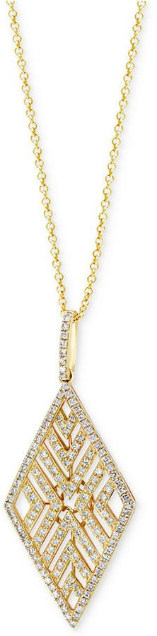 Effy D'Oro By Diamond Geometric Pendant Necklace (5/8 ct. t.w.) in 14k Gold