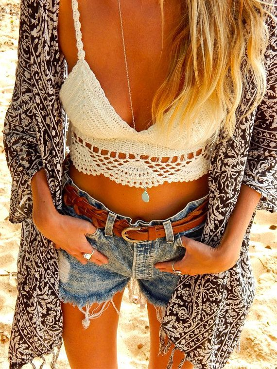 White/ivory crochet lace crop top, luxurious sexy boho chic white crop top