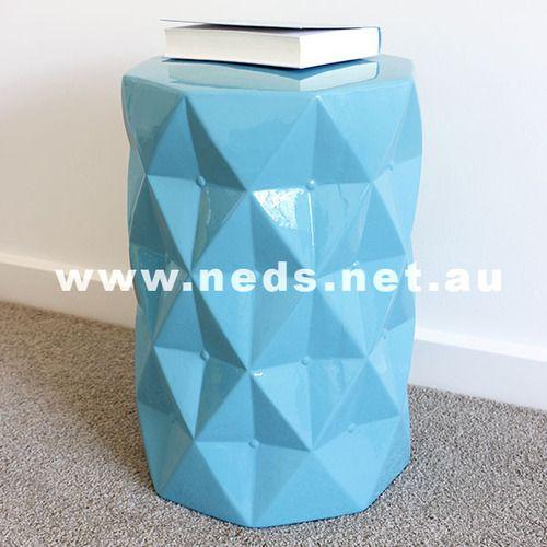 Diamond Cut Ceramic Stool - Blue