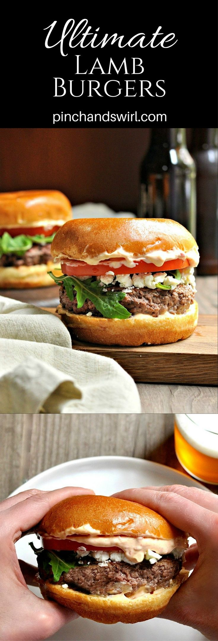 I'm not exaggerating when I call these the ultimate lamb burgers: freshly ground lamb shaped, seasoned and cooked to perfection, creamy feta cheese, peppery arugula, sweet tomato and a feather light brioche bun slathered with harissa aioli.