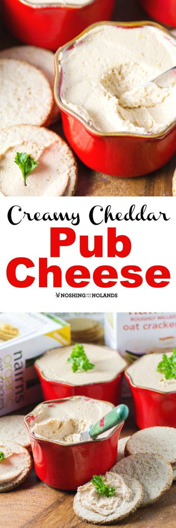 Creamy Cheddar Pub Cheese by Noshing With The Nolands makes a delectable appetizer for game day to cocktail parties! Pair with your favorite cracker like Nairn's Oat Crackers!