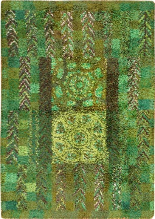 Grassy, woodsy! Vintage Swedish Rya Rug by Marianne Richter Ovralid, mid century