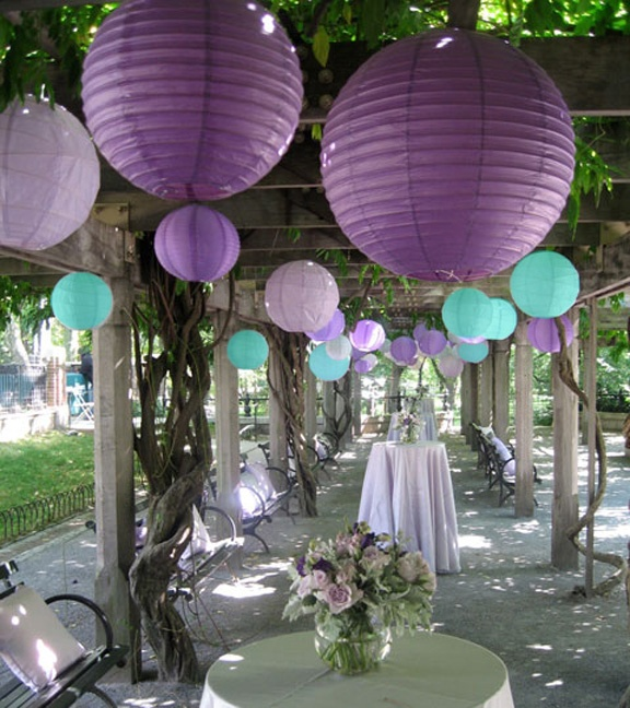 I couldn't find an image with both purple and teal paper lanterns so I photoshopped this one to see what it would look like. Awesome!