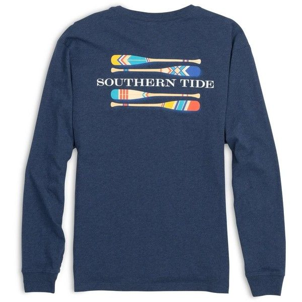 Southern Tide LS Canoe Dig It T-Shirt-Navy ($44) ❤ liked on Polyvore featuring tops, t-shirts, navy blue t shirt, college football t shirts, blue long sleeve t shirt, navy blue top and long sleeve graphic tees