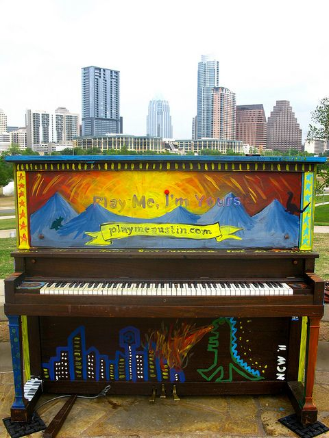 In April 2011, Austin had 14 pianos around the city that anyone could play. After dinner on our second date, Karl took me down to a piano right by the lake, and we played and sang songs. It was by far the most romantic date I had ever been on! While the pianos have long since been taken down, I will always remember that date and love that spot by the water!    Photo by Jose Lozano