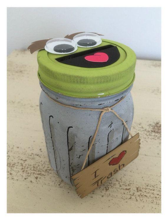 Oscar the Grouch mason jar piggy bank by BBAHomemade on Etsy