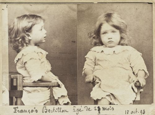 French mugshot of a cold-hearted criminal, Francois Bertillon, 23 months.  Crime: Nibbling through all the pears in a basket at a market.  1893.