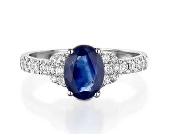 Azul zafiro diamante anillo de compromiso-anillo de compromiso anillo zafiro oro blanco-anillo piedra zafiro de aniversario prometió presente anillo azul
