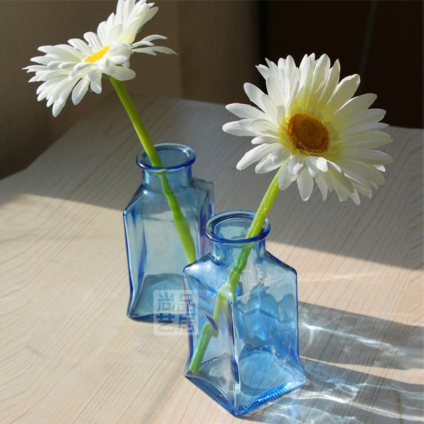 fashion home decoration Blue green brief small glass vase square bottle US $23.80