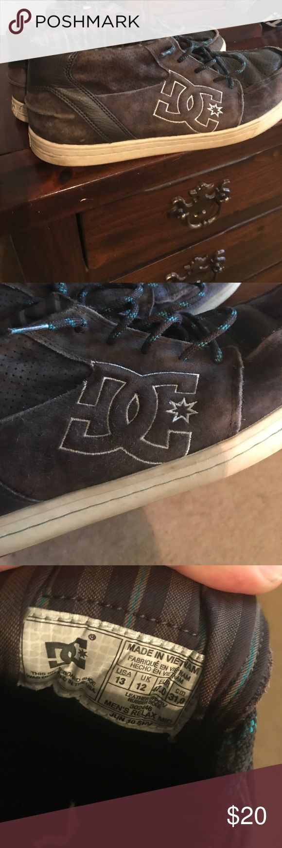 DC shoes Brown mid top DC sneakers! Used but plenty of life left! Size 13 DC Shoes Athletic Shoes