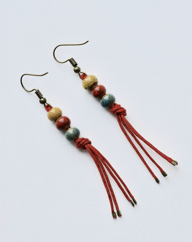 Ladies Earings With Ceramic Beads by justynasshop on Etsy