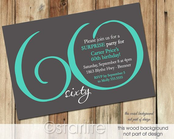 Milestone Birthday invitation, MODERN NUMBER Dark Gray Teal- 30th, 40th, 50th, 60th, 70th, 80th, 90th - Printable Invitation Design