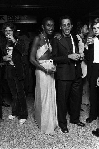 """#NYFW: A pair of pioneers: Model and entrepreneur  Bethann Hardison and fashion designer Stephen Burrows at the opening party for """"Tommy"""" in March 1975. Photo: Corbis"""