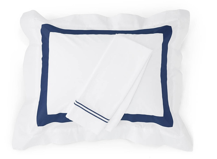 Orlo sham and Grande Hotel pillowcase in Navy are classically crisp and perfect for summer.