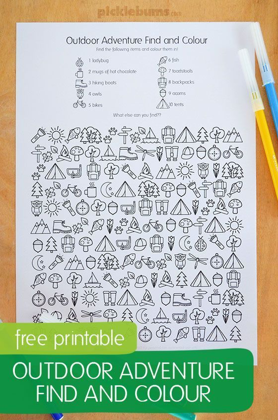 Free printable! Outdoor adventure find and color activity for kids.