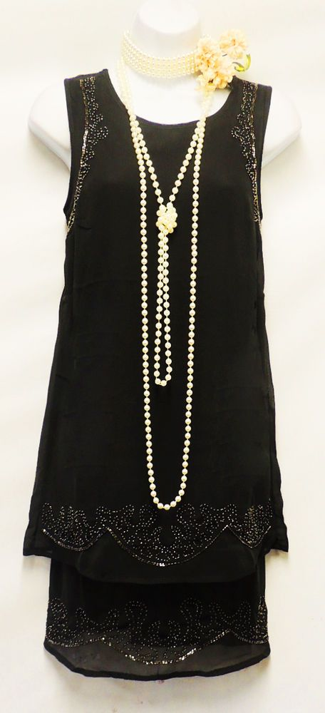 New Ladies Vtg 1920's Deco Downton Abbey Beaded Flapper Charleston Dress