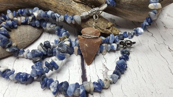 $39.95 ~ I Stand With Standing Rock ~ Long Arrowhead Necklace ~ Native American Style Boho Necklace ~ Healing Blue Sodalite Stones & Jasper Arrowhead ~ Use discount code PIN10 for 10% off in my Etsy shop
