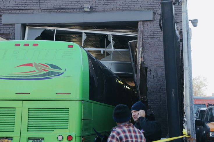 A private charter bus plowed into a Brooklyn business Tuesday, leaving a gaping hole behind, authorities and witnesses said. The bus bearing the name Birnie Bus Service crashed into the Brooklyn Tr…