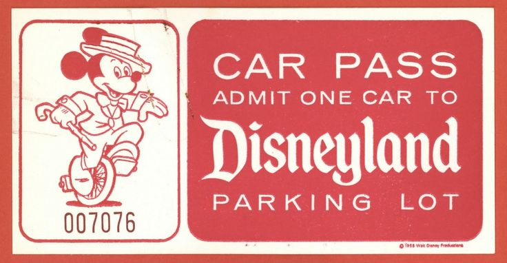 vintage disneyland parking pass
