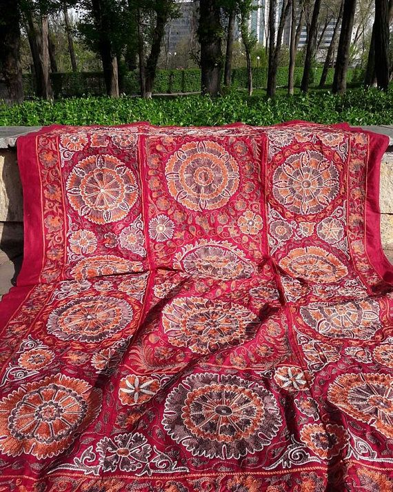 Hand Embroidered suzani from Uzbekistan.Tablecloth Wall