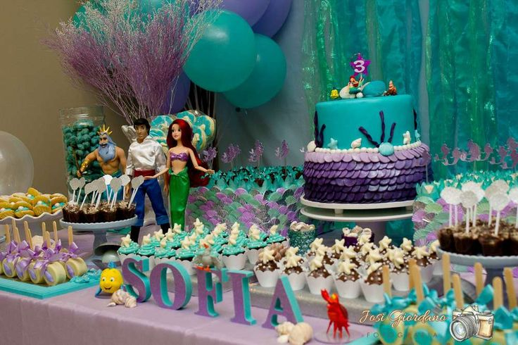 Gorgeous Little Mermaid girl birthday party dessert table!  See more party planning ideas at CatchMyParty.com!