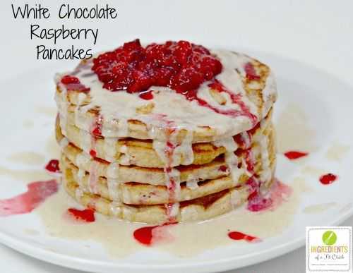 White Chocolate Raspberry Pancakes with @sweetspreads